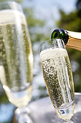 Extreme close up of champagne glasses with perlage