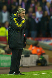 LIVERPOOL, ENGLAND - Wednesday, December 15, 2010: Liverpool's manager Roy Hodgson during the UEFA Europa League Group K match against FC Utrecht at Anfield. (Photo by: David Rawcliffe/Propaganda)