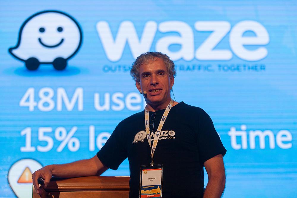 Uri Levine, co-founder and president of Waze, an Israeli mobile satellite navigation application speaks during The Second Jerusalem International Tourism Summit at the Jerusalem International Convention Center, Israel, on May 28, 2013.
