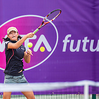 Ashley Yim of Singapore in action during the BNP Paribas WTA Future Stars Tournament at Kallang Tennis Centre on October 18, 2014, in Singapore.