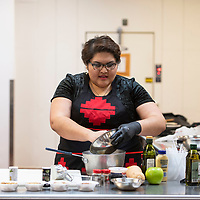 Andi Murphy, host of Toasted Sister podcast holds a cooking demo, Friday, Feb. 1 at Navajo Technical University.