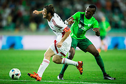 Peter Klescik of AS Trencin vs Blessing Eleke of NK Olimpija during 1st Leg football match between NK Olimpija Ljubljana (SLO) and FK AS Trenčin (SVK) in Second Qualifying Round of UEFA Champions League 2016/17, on July 13, 2016 in SRC Stozice, Ljubljana, Slovenia. Photo by Vid Ponikvar / Sportida