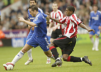 Photo: Aidan Ellis.<br /> Sheffield United v Chelsea. The Barclays Premiership. 28/10/2006.<br /> Sheffield's Mikele Liegertwood brings down Chelsea's Frank Lampard for the free kick which he scores from