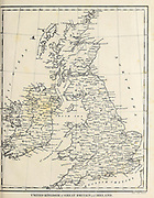 18th Century map of United Kingdom of Great Britain and Ireland Copperplate engraving From the Encyclopaedia Londinensis or, Universal dictionary of arts, sciences, and literature; Volume VIII;  Edited by Wilkes, John. Published in London in 1810.