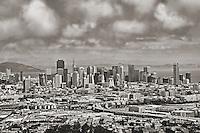 San Francisco Skyline from Portrero Hill Neighborhood (B&W Aerial)
