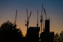 Construction cranes still seem to be in evidence on London's skyline although reports suggest that construction has hit a downturn in the capital whilst surging in other parts of the country. London, May 02 2018.