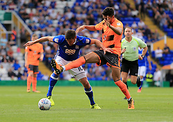 Tiago Ilori of Reading battles with Lukas Jutkiewicz of Birmingham City for the ball - Mandatory by-line: Paul Roberts/JMP - 26/08/2017 - FOOTBALL - St Andrew's Stadium - Birmingham, England - Birmingham City v Reading - Sky Bet Championship