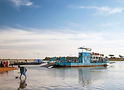 The car ferry is the only way to cross the Bani River to continue the road and get to Djenné, Mali