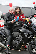 NO FEE PICTURES.5/5/13 On Saturday May 4th, the 8th Annual Rev-up4DSI motorcycle challenge in aid of Down Syndrome Ireland departed Joe Duffy BMW in Dublin, bound for Donegal. Pictured is 73 year old Ian Halliday, East Kilbride, Scotland with Niamh Geaney, Rathmines. Picture:Arthur Carron Photography