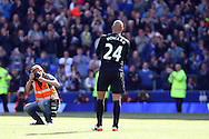 Everton Goalkeeper Tim Howard says goodbye to the Goodison crowd. Barclays Premier League match, Everton v Norwich City at Goodison Park in Liverpool on Sunday 15th May 2016.<br /> pic by Chris Stading, Andrew Orchard sports photography.