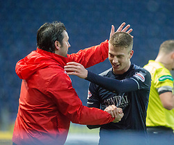 Falkirk's manager Paul Hartley with scorer Andrew Nelson. Falkirk 3 v 1 Inverness Caledonian Thistle, Scottish Championship game played 27/1/2018 at The Falkirk Stadium.