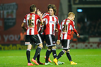 Brentford FC's Jota celbrates scoring the winning goal during the Sky Bet Championship match between Brentford and Fulham at Griffin Park, London 21/11 /2014 Picture by Mark D Fuller