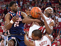 FAYETTEVILLE, AR - MARCH 4:   Michael Washington of the Arkansas Razorbacks gets a rebound away from Malcolm White of the Ole Miss Rebels at Bud Walton Arena on March 4, 2009 in Fayetteville, Arkansas.  The Rebels defeated the Razorbacks 98-91.  (Photo by Wesley Hitt/Getty Images) *** Local Caption *** Michael Washington; Malcolm WhiteUniversity of Arkansas Razorback Men's and Women's athletes action photos during the 2008-2009 season in Fayetteville, Arkansas....©Wesley Hitt.All Rights Reserved.501-258-0920.