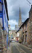 A small street of Treguier leading the church, Cotes d'Armor, Brittany, Bretagne, France