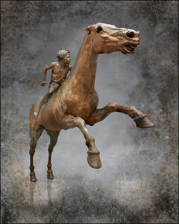 'Jockey of Artrmision' a Hellenistic bronze statue of a boy riding a horse. National Archaeological Museum Athens. Circa 140 BC. Cat No X 15177. Photo wall art print by  Photographer Paul E Williams. Retrieved in pieces from a shipwreck of Cape Artemision in Euboea. The young jockey holds a rein in his left hand and a whip in his right. His face has a passionate expression with furrowas on his face. The pieces of the Bronze sculpture were reassembled in 1971. .<br /> <br /> If you prefer visit our World Gallery Print Shop To buy a selection of our prints and framed prints desptached  with a 30-day money-back guarantee and is dispatched from 16 high quality photo art printers based around the world. ( not all photos in this archive are available in this shop) https://funkystock.photoshelter.com/p/world-print-gallery