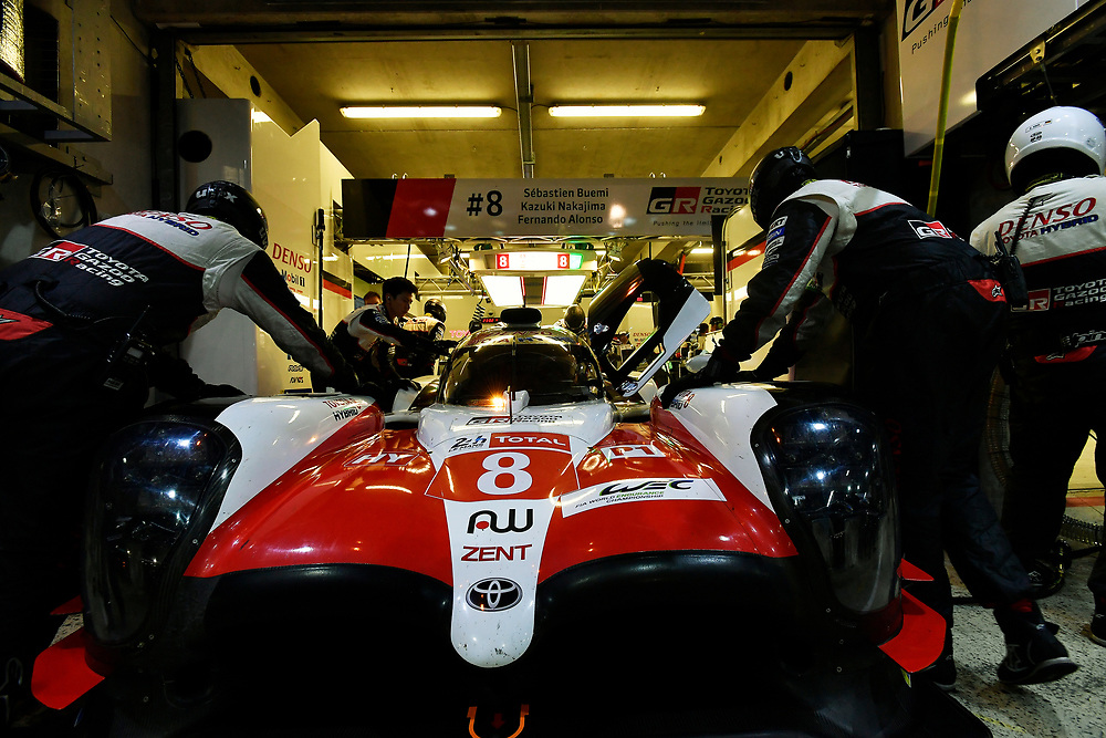 #8 Toyota Gazoo Racing Toyota TS050: Sébastien Buemi, Kazuki Nakajima, Fernando Alonso<br /> Thursday 14 June 2018<br /> 24 Hours of Le Mans<br /> 2018 24 Hours of Le Mans<br /> Circuit de la Sarthe  FR<br /> World Copyright: Scott R LePage