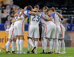 July 22, 2017 - Arlington, TX, USA - Arlington, TX - Saturday July 22, 2017: USMNT starting eleven huddle during a 2017 Gold Cup Semifinal match between the men's national teams of the United States (USA) and Costa Rica (CRC) at AT&T stadium. (Credit Image: © John Dorton/ISIPhotos via ZUMA Wire)