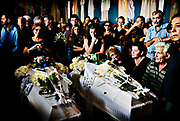 Funeral of a 70 years old women and her two grand kids in Artemida, Greece, on Friday, aug. 31, 2007. <br /> <br /> These 3 persons was among the 19 people who was killed by the fire when they tried to espape the fire in and around the village of Artemida.