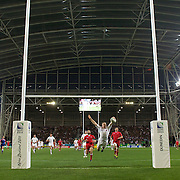 Chris Ashton, England, swan dives over the try line for another try for his side during their 41-10 victory over Georgia under the new roofed Otago Stadium  during the England V Georgia Pool B match during the IRB Rugby World Cup tournament. Otago Stadium, Dunedin New Zealand, 18th September 2011. Photo Tim Clayton...