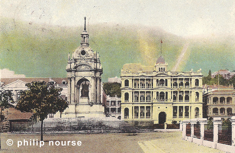 Hongkong Bank building (second generation) with Queen Victoria's monument and City Hall (left), circa 1904 Hong Kong circa 1900s