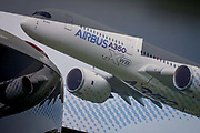 A large billboard of the Airbus A350 XWB on the side of the Airbus corporate chalet at the Farnborough Air Show, England. The A350 XWB is the only all-new aircraft in the 300-400 seat category. The A350 XWB is a family of long-range, two-engined wide-body jet airliners developed by European aircraft manufacturer Airbus. The A350 is the first Airbus with both fuselage and wing structures made primarily of carbon-fiber-reinforced polymer. It's scheduled to enter commercial service later in 2014.