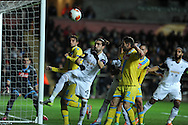 Swansea city's Chico Flores looks to get on the end of a ball in penalty area. UEFA Europa league match , Swansea city v Napoli at the Liberty Stadium in Swansea, South Wales on Thursday 20th Feb 2014. pic by Andrew Orchard, Andrew Orchard sports photography.