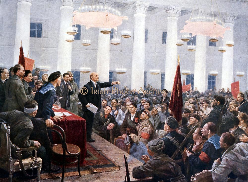 Russian Revolution, October 1917. Vladimir Ilyich Lenin (Ulyanov - 1870-1924) haranguing the deputies of the Second Soviet Congress in the Smolny Palace, St Petersburg.
