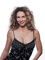 beautiful caucasian woman smile pose portrait wearing summer dress isolated studio on white background