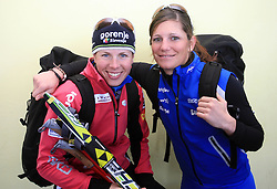 Vesna Fabjan and Katja Visnar at practice of Slovenian Cross country National team before new season 2008/2009, on October 22, 2008, glacier Dachstein, Ramsau, Austria. (Photo by Vid Ponikvar / Sportida).