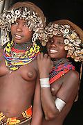 Africa, Ethiopia, Omo Valley, Two young Daasanach tribe girls
