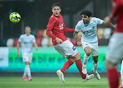 Daniel Norouzi (FC Helsingør) og Nicolai Vallys (Silkeborg IF) under kampen i 1. Division mellem Silkeborg IF og FC Helsingør den 21. november 2020 i JYSK Park (Foto: Claus Birch).