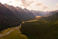 Aerial view of scenic Eglinton Valley during the sunset, New Zealand.