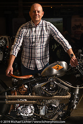 Kurt Max-T Sturr's first custom bike build, Fight Club, with an S&S Evo motor and lots of handmade parts at the Handbuilt Show. Austin, Austin USA. Sunday, April 14, 2019. Photography ©2019 Michael Lichter.