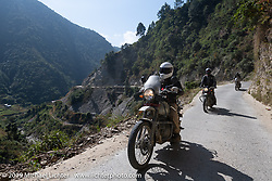 Biltwell's mechanic and special projects guy Rob Galan of Rouserworks riding a Royal Enfield Himalayan in Motorcycle Sherpa's Ride to the Heavens motorcycle adventure in the Himalayas of Nepal. Riding from Daman back to Kathmandu. Wednesday, November 13, 2019. Photography ©2019 Michael Lichter.