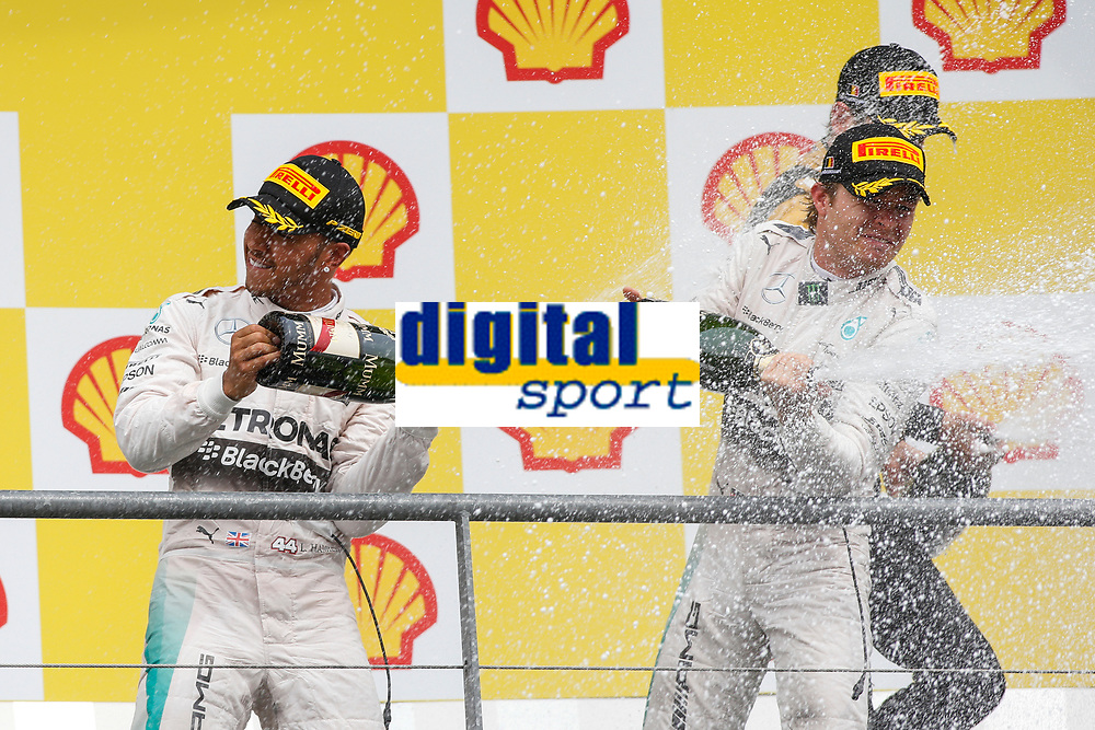 Podium. HAMILTON lewis (gbr), ROSBERG nico (ger) mercedes gp mgp w06 ambiance portrait during the 2015 Formula One World Championship, Belgium Grand Prix from August 20 to 23th 2015, in Spa-Francorchamps, Belgium. Photo Florent Gooden / DPPI