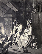 "He saw on her cheek a tear-drop glisten, So he hid himself under her chair to listen."" Illustration from 'Hop O' My Thumb' by Paul Gustave Dore. Hop-o'-My-Thumb (Hop-on-My-Thumb), or Hop o' My Thumb, also known as Little Thumbling, Little Thumb, or Little Poucet is one of the eight fairytales published by Charles Perrault in Histoires ou Contes du temps passé (1697), Where the small boy defeats the ogre. Illustration by Gustave Dore from the book Fairy realm. A collection of the favourite old tales. Illustrated by the pencil of Gustave Dore by Tom Hood, (1835-1874); Gustave Doré, (1832-1883) Published in London by Ward, Lock and Tyler in 1866"