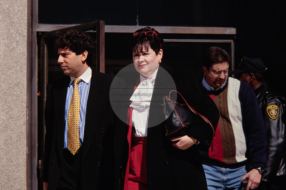 Patsy Thomasson, the former Director of White House Office of Administration, departs from the Federal Courthouse with her lawyer Jeffrey Jacobovitz, following testimony in front of the Starr Grand Jury investigating the Monica Lewinsky affair February 25, 1998 in Washington, DC.