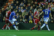 Everton forward Gerard Deulofeu  scores during the Capital One Cup match between Middlesbrough and Everton at the Riverside Stadium, Middlesbrough, England on 1 December 2015. Photo by Simon Davies.