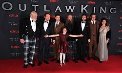 Outlaw King Premiere, Edinburgh, Friday 19th October 2018<br /> <br /> Outlaw King is a Netflix film and follows 14th century Scottish king Robert the Bruce prior to his coronation and through to his rebellion against the English, who at the time were occupying Scotland.<br /> <br /> Stars, crew and guests appear on the red carpet for the Scottish premiere.<br /> <br /> Pictured: (l to r) James Cosmo, Tony Curran, Billy Howie, director David Mackenzie, Aaron Taylor-Johnson, Chris Pine and producer Gillian Berrie with young Josie O'Brien in the front<br /> <br /> Alex Todd | Edinburgh Elite media