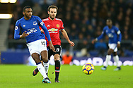 Cuco Martina of Everton passes the ball under pressure from Juan Mata of Manchester United. Premier league match, Everton v Manchester Utd at Goodison Park in Liverpool, Merseyside on New Years Day, Monday 1st January 2018.<br /> pic by Chris Stading, Andrew Orchard sports photography.