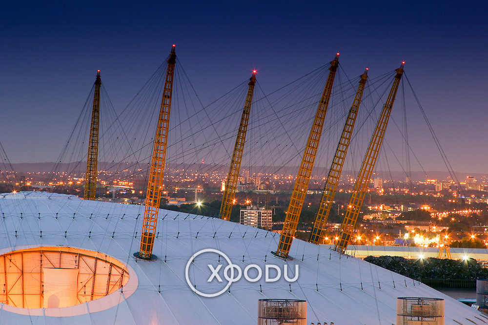 Millenium dome pylons dark, London, England (July 2004)