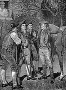 Paul Revere (1735-1818) American patriot and silversmith, arriving at Lexington from Boston with the news that the English under Pitcairn were on the move:  18 April 1775. American War of Independence. Engraving published 1886