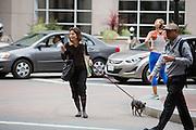 Een vrouw steekt al kijkend op de telefoon met haar hond de straat over. De Amerikaanse stad San Francisco aan de westkust is een van de grootste steden in Amerika en kenmerkt zich door de steile heuvels in de stad.<br /> <br /> A woman is crossing the street with her dog while she is on the phone. The US city of San Francisco on the west coast is one of the largest cities in America and is characterized by the steep hills in the city.