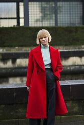 March 4, 2018 - Paris, France - Vika Gazinskaya  wearing red coat is seen outside Valentino during Paris Fashion Week Womenswear Fall/Winter 2018/2019 on March 4, 2018 in Paris, France. (Credit Image: © Nataliya Petrova/NurPhoto via ZUMA Press)
