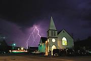 Lightning on Church Street, Truckee, California (near Squaw Valley). 1998.