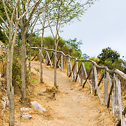 A hiking path atop the mountain on the island of Capri, Italy.