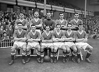 Fotball<br /> Manchester United historie<br /> Foto: Colorsport/Digitalsport<br /> NORWAY ONLY<br /> <br /> Bildene inngår ikke i nettavtalene<br /> <br /> Manchester United team Group. 1956-57 season (back row L>R) Tommy Taylor, Mark Jones, Ray Wood, Willy Foulkes, Duncan Edwards, (front row L>R) William Whelan, Edward Colman, John Berry, Dennis Violet, David Pegg, Geoff Bent.