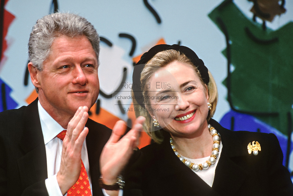US President Bill Clinton with first lady Hillary Clinton during an event at National Children's Hospital February 18, 1998 in Washington, DC.