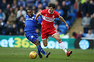 George Friend of Middlesbrough ® holds off Junior Hoilett of Cardiff city. EFL Skybet championship match, Cardiff city v Middlesbrough at the Cardiff city Stadium in Cardiff, South Wales on Saturday 17th February 2018.<br /> pic by Andrew Orchard, Andrew Orchard sports photography.