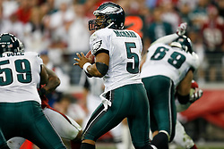 18 Jan 2009: Philadelphia Eagles quarterback Donovan McNabb #5 looks for a receiver during the NFC Championship game against the Arizona Cardinals on January 18th, 2009. The Cardinals won 32-25 at University of Phoenix Stadium in Glendale, Arizona. (Photo by Brian Garfinkel)